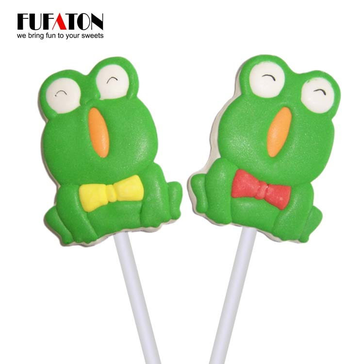 Fruit Flavored Frog Shape marshmallow lollipop Candy