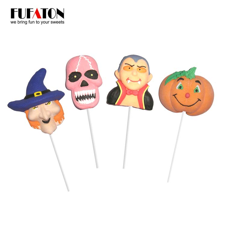 Hand Decorated Marshmallow Lollipop for Halloween
