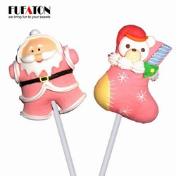 Santa Claus shaped marshmallow lollipops candy for merry Christmas