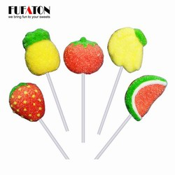 Fruit shaped marshmallow lollipop candy