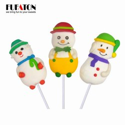Snowman shaped marshmallow candy lollipops for merry Christmas and Happy New year