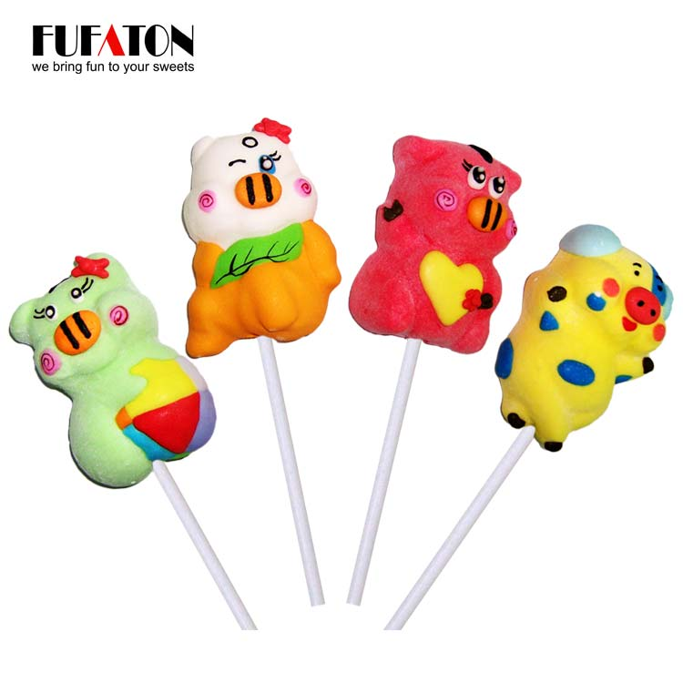25g Pig shaped marshmallow lollipop candy