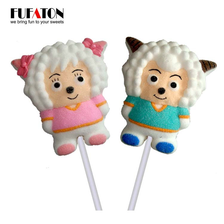 Cartoon shaped sheep marshmallow lollipop candy
