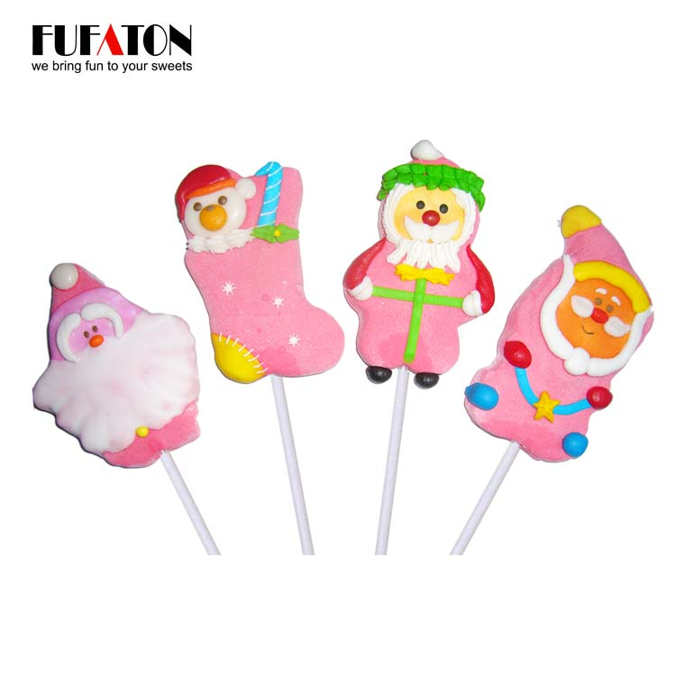 Hand decorated marshmallow lollypops for Christmas