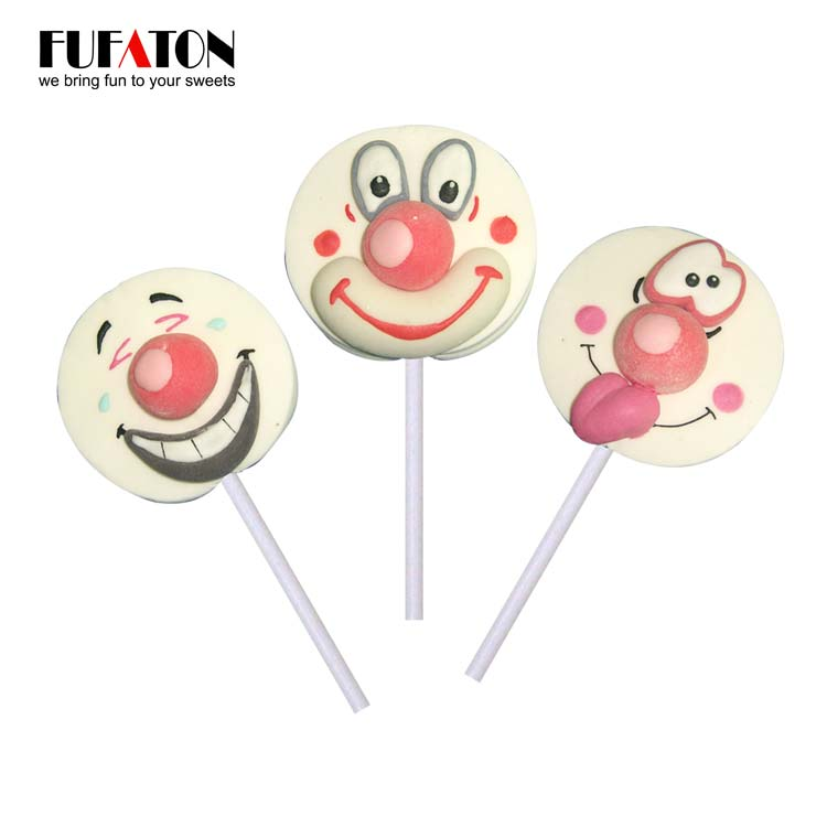 Funny face mallow lollipop candy