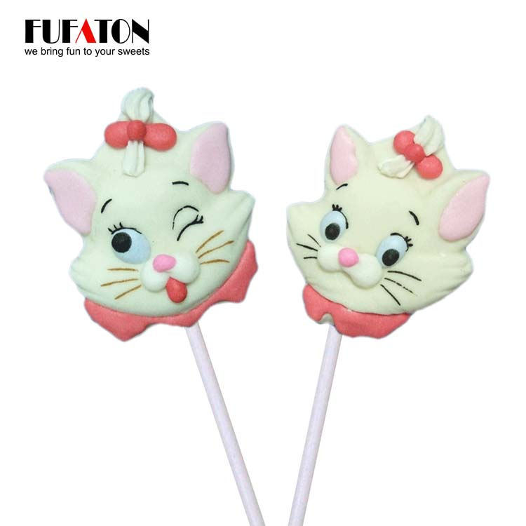 Animal Cat Shaped Marshmallow Lollipop Candy