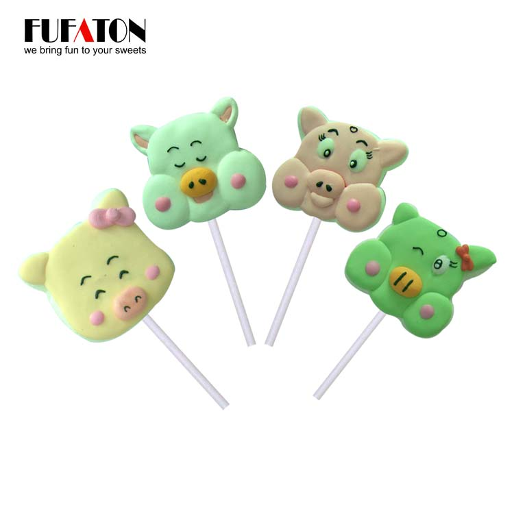 Hand decorated Pig Shaped Mallow Lollipop Candy