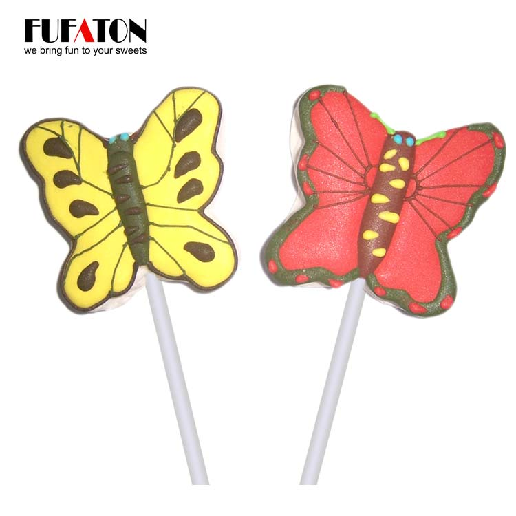 Hand Decorated Butterfly Shaped Marshmallow lollipop Candy