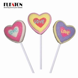 Red Heart Shaped Marshmallow Candy Lollipops