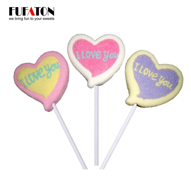 I LOVE YOU heart shaped character Marshmallow candy lollipop