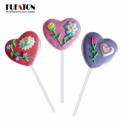 35g Hand decorated Heart shaped Marshmallow Candy Lollipop