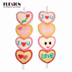 Heart shaped marshmallow candy on a stick