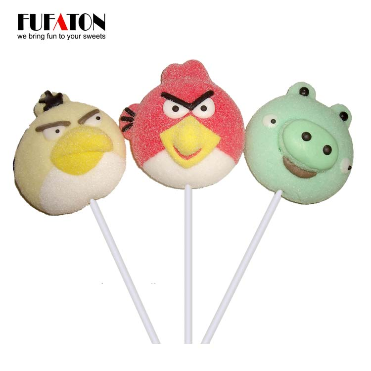 Angry Bird Shaped Marshmallow Lollipop Candy