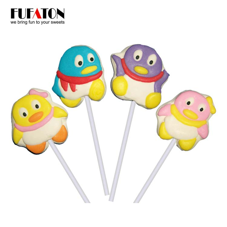 Funny Penguin shaped marshmallow Lollipop Candy
