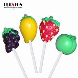 Mix Fruit Apple Grape Strawberry Mango Shaped Lollipop Candy