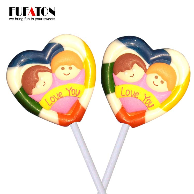 Valentine hard lollipop with heart shape