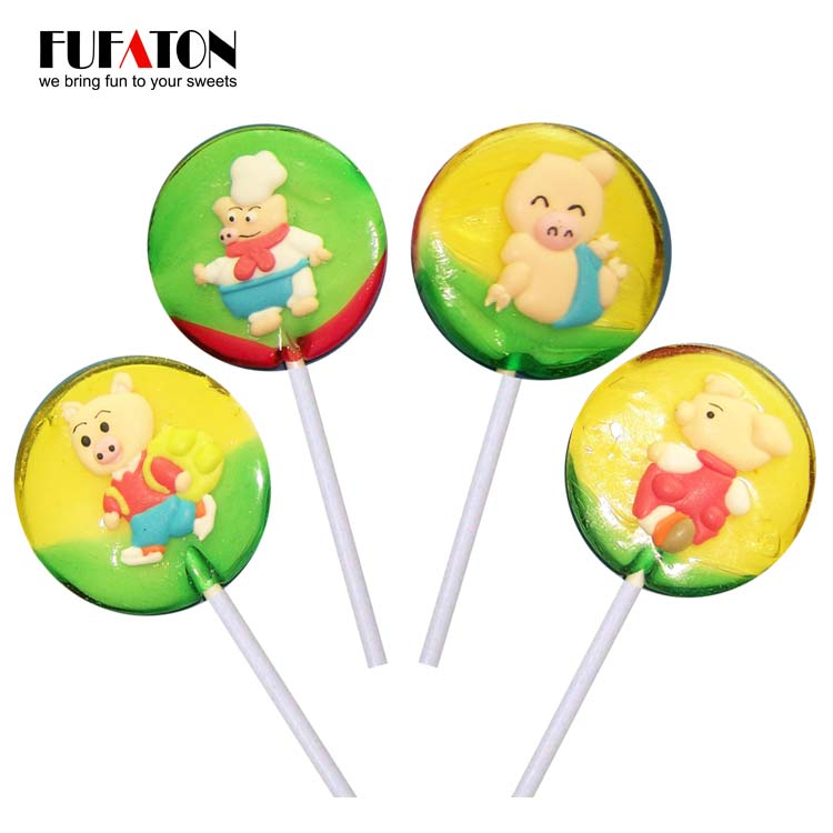 30g Round Lollipop candy with Pig shaped decoration