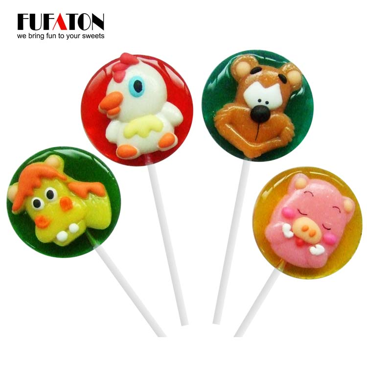 28g Candy lollipop with animal shaped decoration