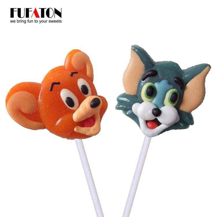Tom & Jerry shaped hard candy lollipop