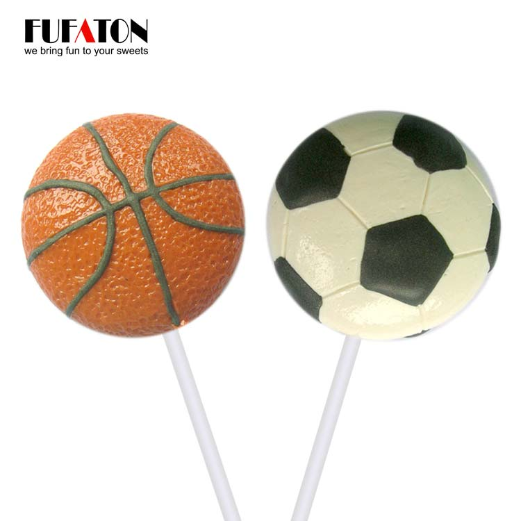 Sport basketball and football shaped candy lollipops