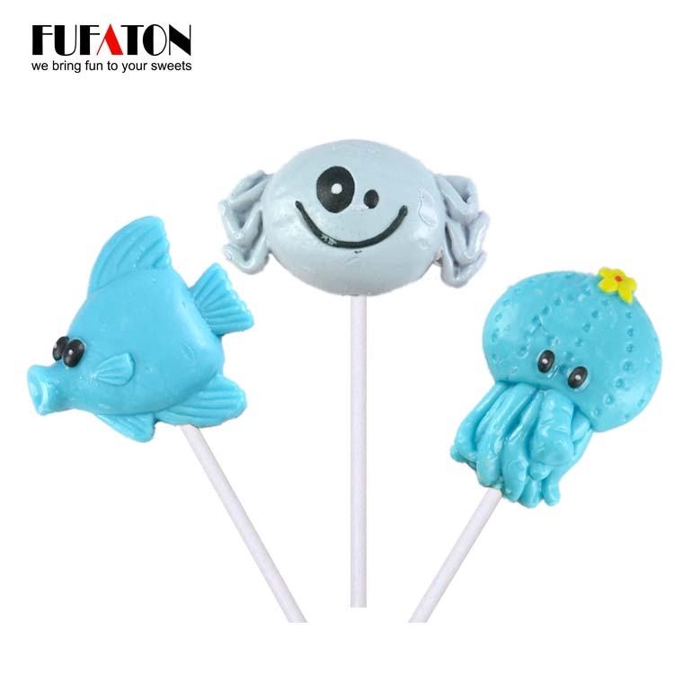 Hand decorated fruit flavor Sea Animal shaped Hard Lollipop Candy