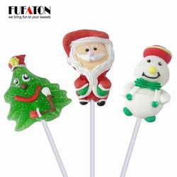 Santa Claus and snowman shaped jelly candy lollipop for Christmas