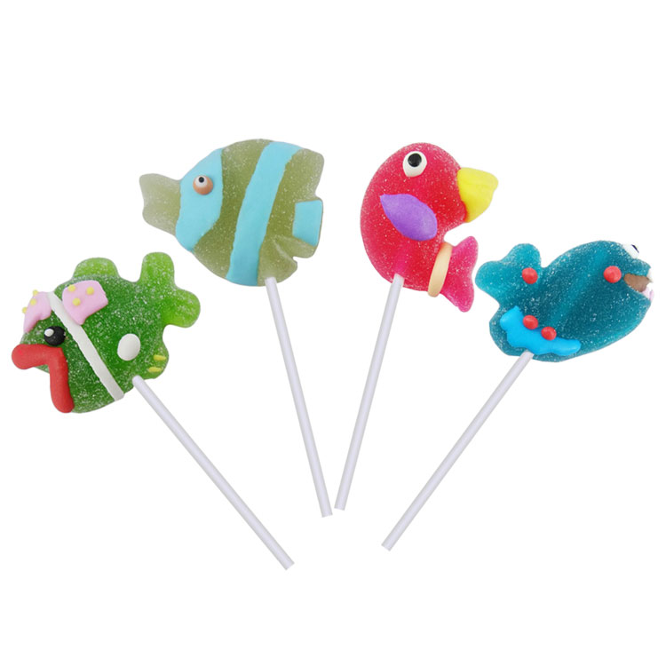 Fruit flavor Fish Shaped jelly candy lollipop