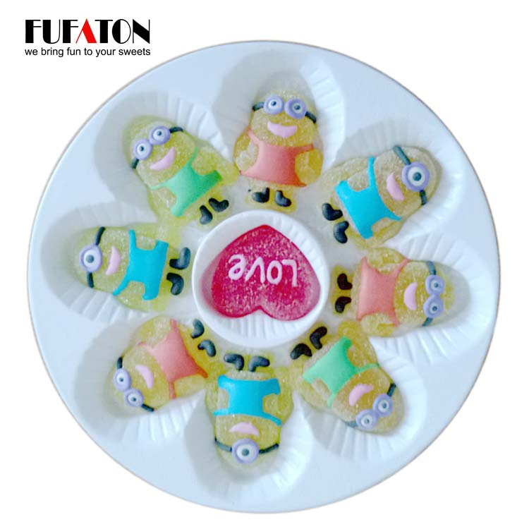 Mini decorated cartoon jelly candy on plastic tray