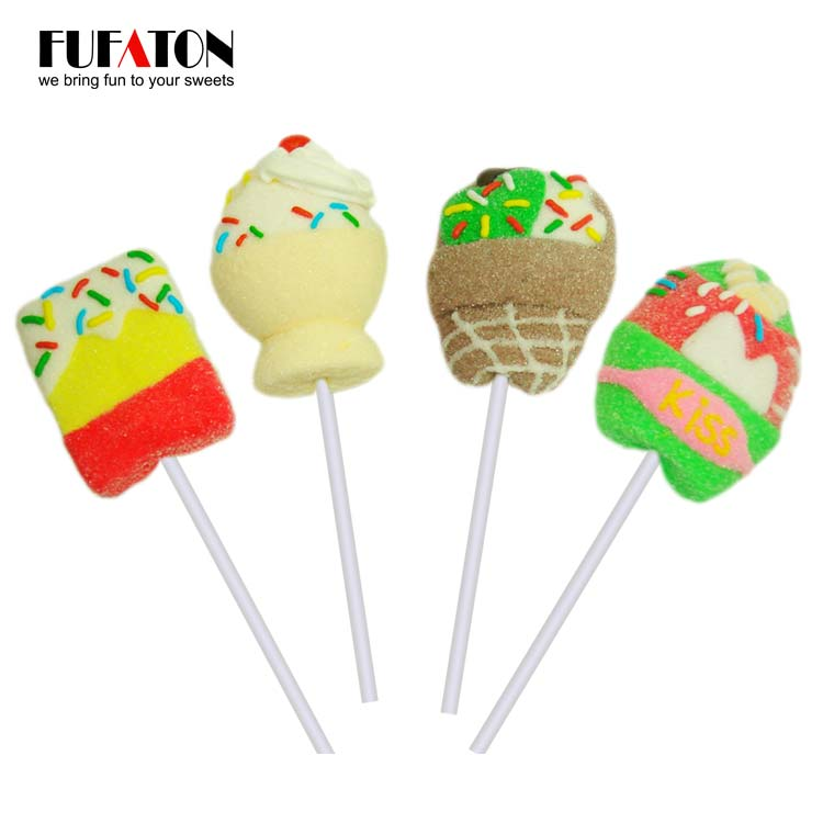 Hand Decorated Ice cream shaped marshmallow Lollipop Candy