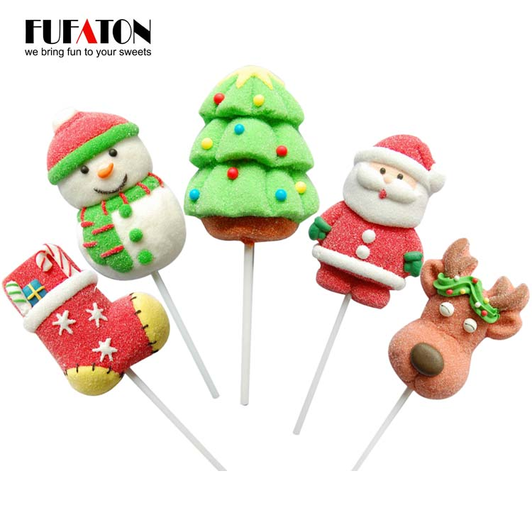Hand Decorated Christmas Marshmallow Lollipop Candy
