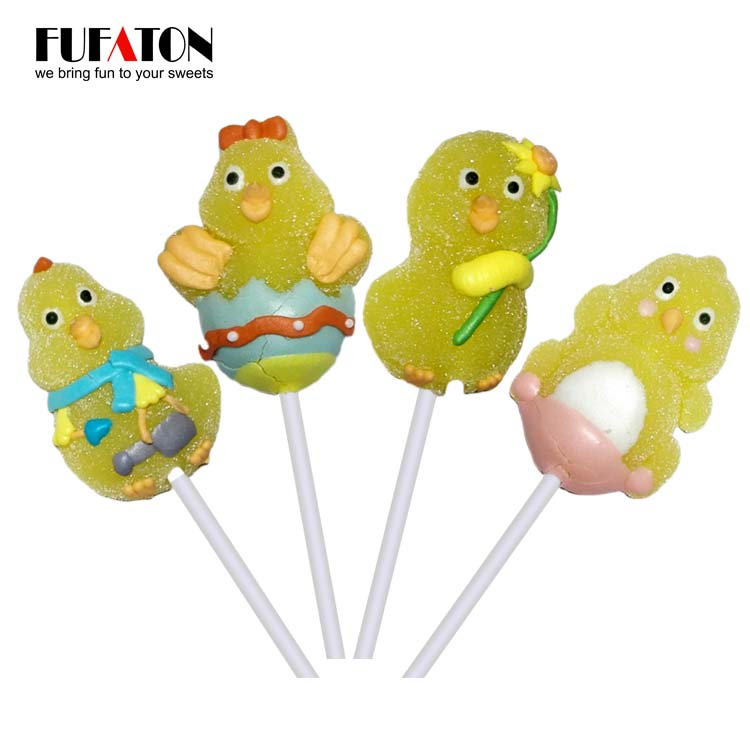 Chicken Shaped jelly lollipop for Easter