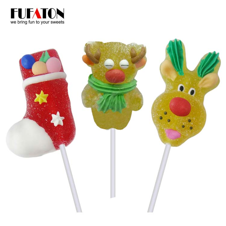 Reindeer shaped jelly lollipop candy for Christmas