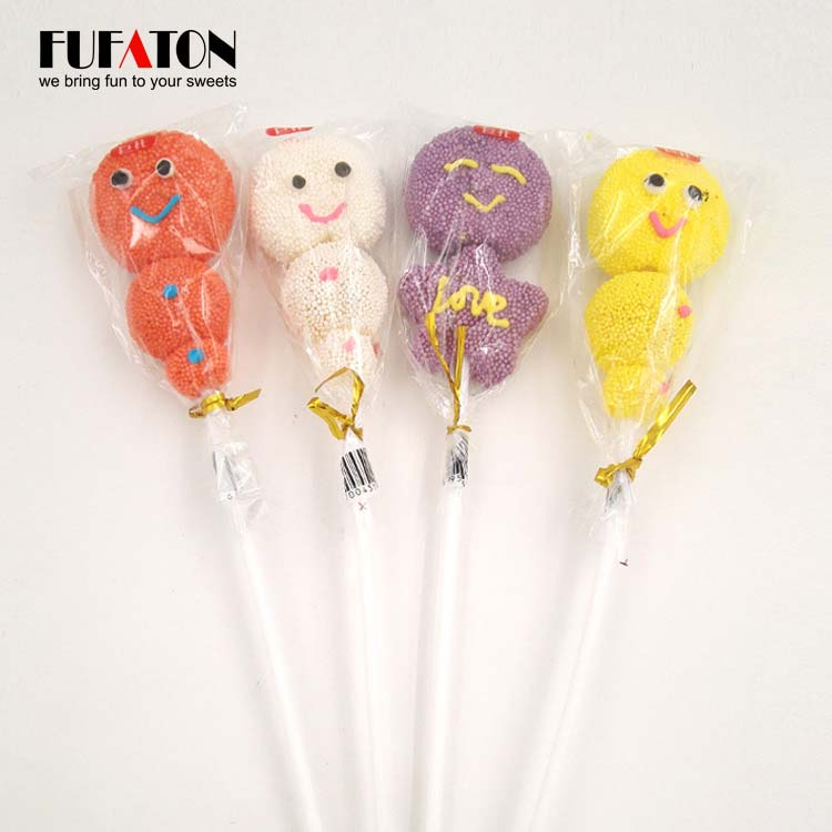 Pearl coated Jelly candy lollipop on long sticks