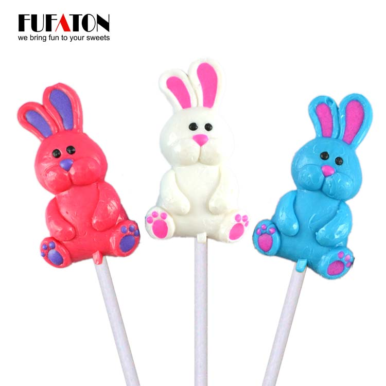 Hand Decorated Animal Shaped Bunny Lollipop candy
