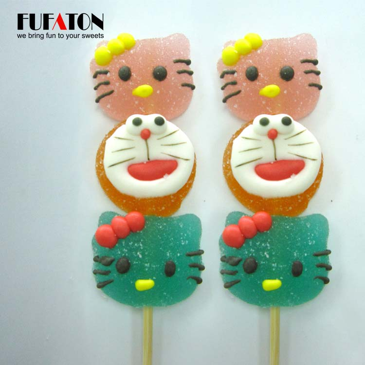 Kitty and cat shaped jelly lollipop candy Kebab