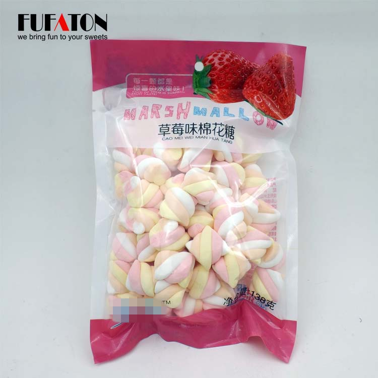 138g pink and white rainbow twist marshmallow candy