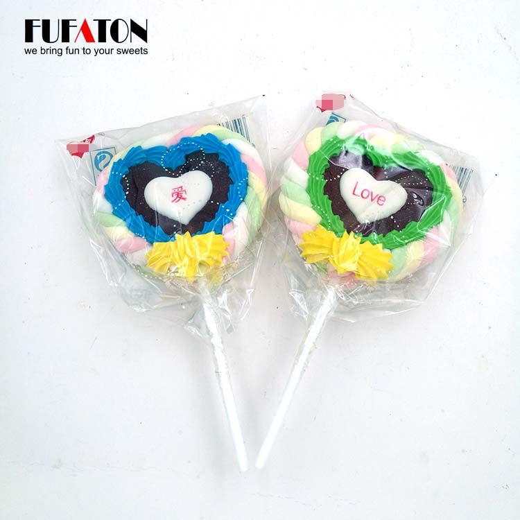 Heart Shaped Jelly marshmallow lollipop for Valentine