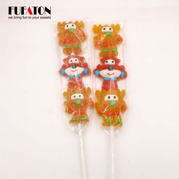 Cartoon shaped jelly candy on a skewer