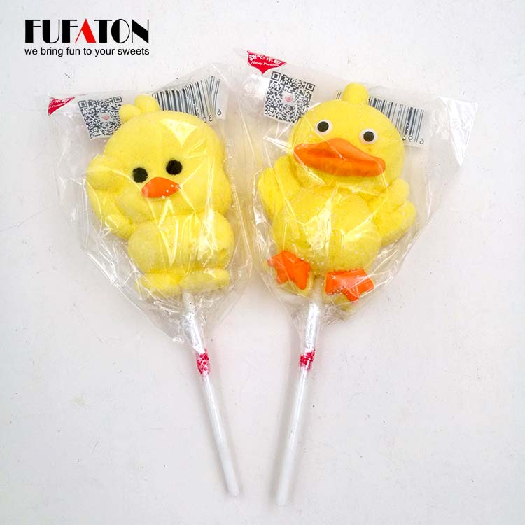 Fruity Flavored Chicken shaped Marshmallow Lollipop Candy
