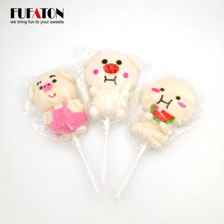 Lovely Piggy Shaped Marshmallow lollipop Candy