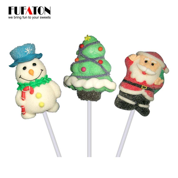 Hand decorated marshmallow candy lollipop for Christmas